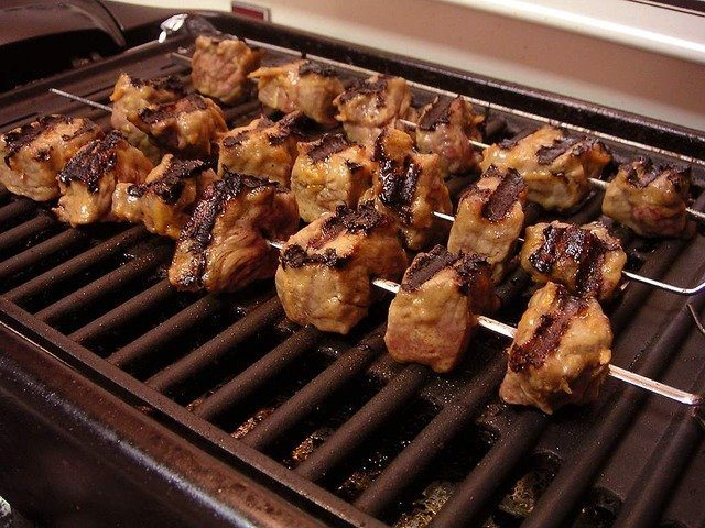 indoor grill with chicken kebabs